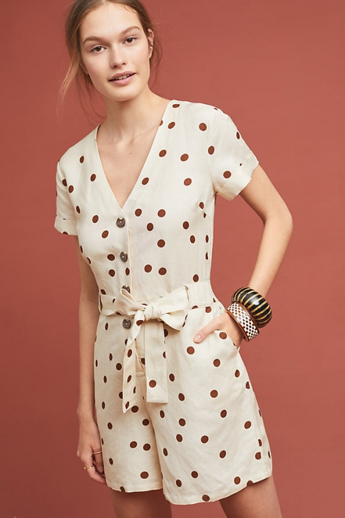 Moon River Button-Front Playsuit