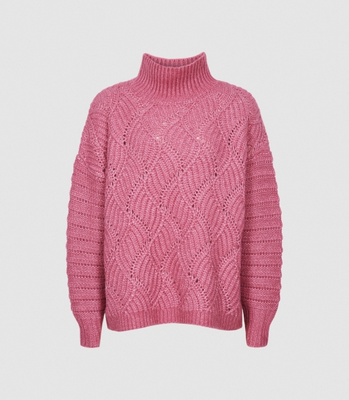 Reiss Ola - Oversized Cable Knit Pink, Womens, Size XS Jumper
