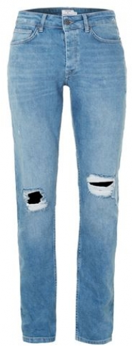 Topman Mens Light Wash Blue Ripped Stretch , Blue Slim Jeans