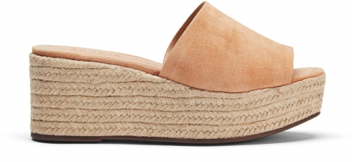 Schutz Shoes Thalia Wedge Slide - 8.5 Honey Beige Suede Wedge Sandal