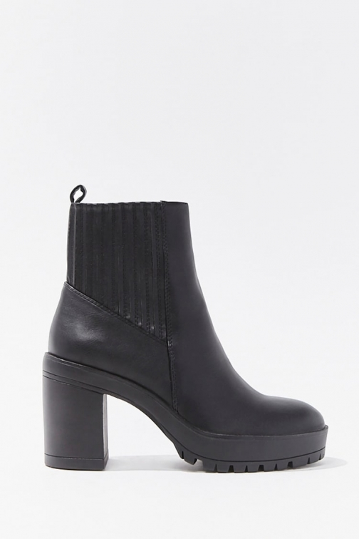 Forever21 Forever 21 Faux Leather Ankle Booties , Black Boot