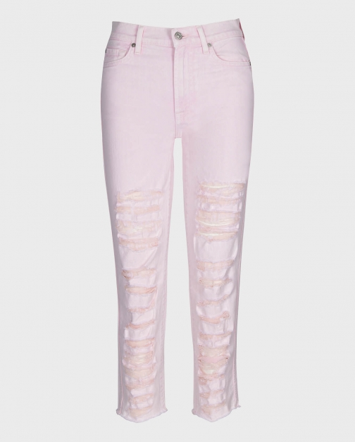 7 For All Mankind Womens High Waist Cropped Straight Mineral Pink Shredded Size: 24 Trouser