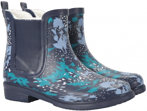 Mountain Warehouse Winter Printed Rubber Womens Ankle Wellie - Navy Welly