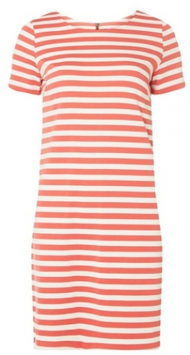 Dorothy Perkins Womens **Vila Coral And White Shift - Coral, Coral Dress