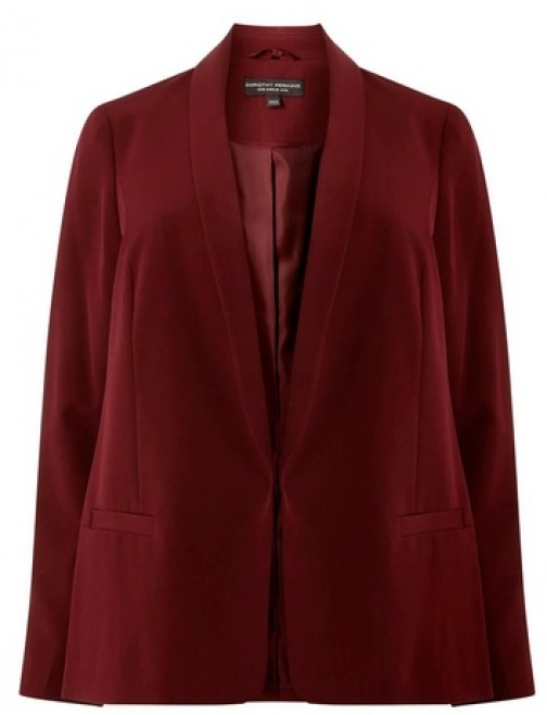 Dorothy Perkins Womens **DP Curve Claret Notch Sleeve - Red, Red Blazer
