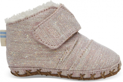 Toms Rose Cloud Twill Glimmer Tiny TOMS Cuna Crib Shoes
