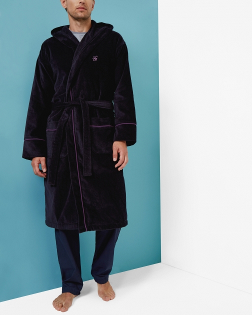 Ted Baker Cotton Navy Dressing Gown
