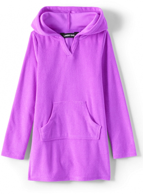 Lands' End Girls Long Sleeve Hooded Front Pocket Terry Cloth Cover-Up - Lands' End - Pink - XS Swimsuit