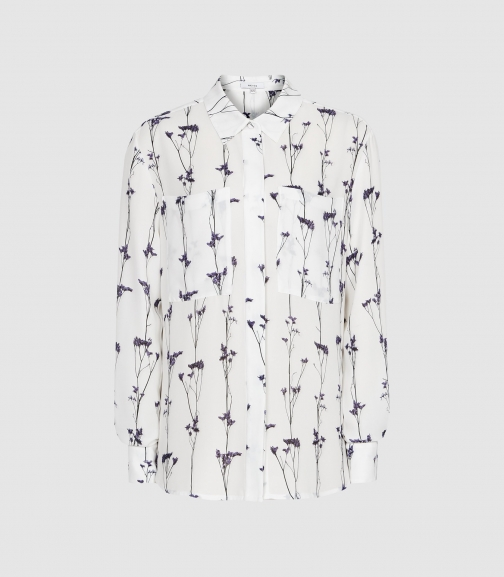 Reiss Aislin Print - Floral Printed White, Womens, Size 10 Blouse