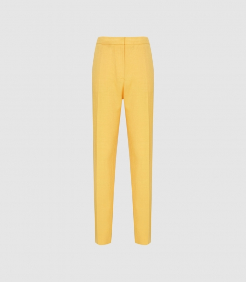 Reiss Haya Trouser - Slim Fit Yellow, Womens, Size 4 Tailored Trouser