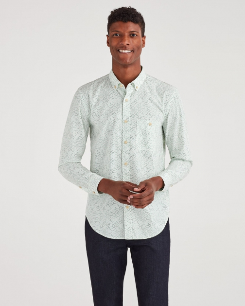 7 For All Mankind Men's New Icon Button Down Collared Ecru Floral Shirt