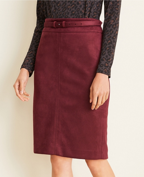 Ann Taylor Curvy Faux Suede Belted Pencil Skirt