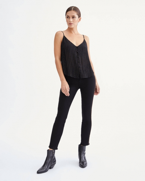 7 For All Mankind Womens Slim Illusion Ankle Skinny With Chain Trim Black Size: 26 Trouser