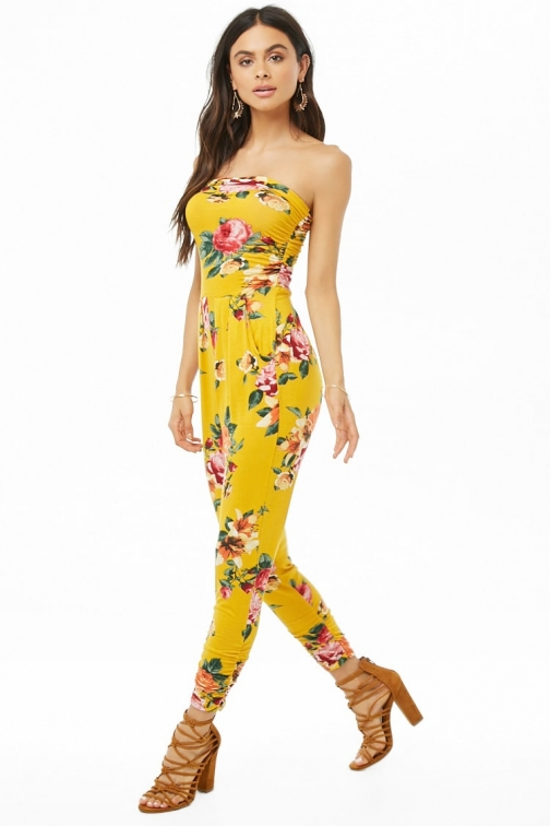 Forever21 Forever 21 Floral Ruched Strapless , Mustard Jumpsuit