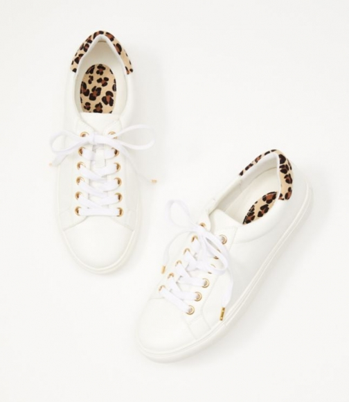 Loft Cheetah Print Trim Lace Up Sneakers Trainer