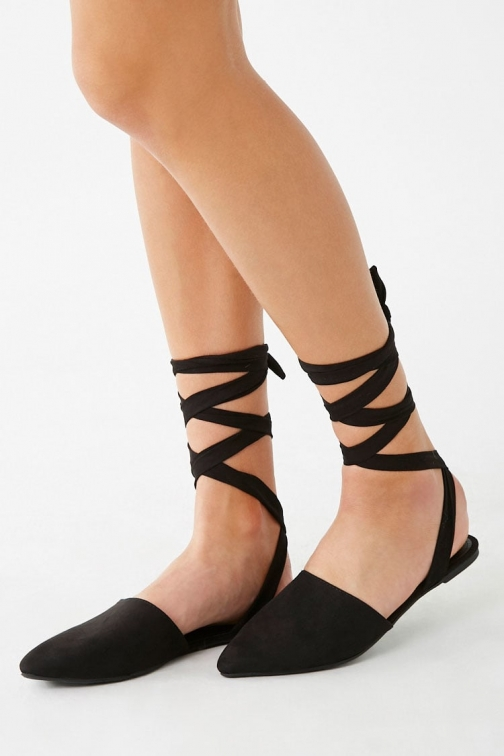 Forever21 Forever 21 Strappy Faux Suede , Black Flats