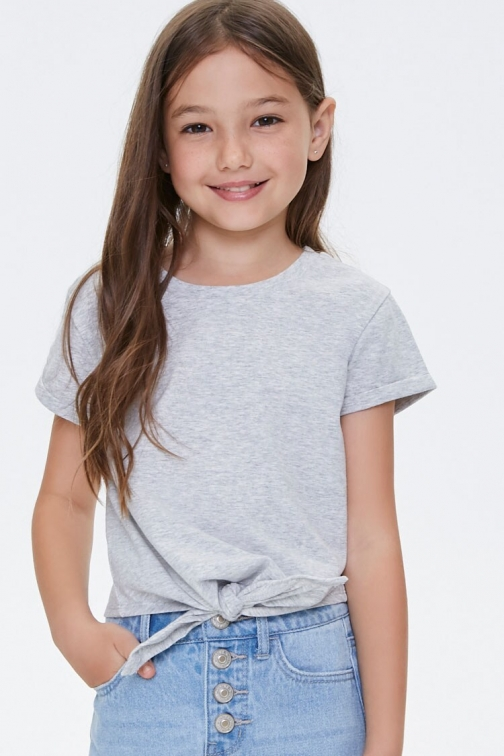 Forever21 Girls Tie-Front Tee (Kids) At Forever 21 , Heather Grey T-Shirt
