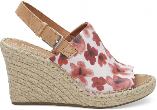 Toms Poppy Watercolor Floral Women's Monica - Size UK7.5 / US9.5 Wedge