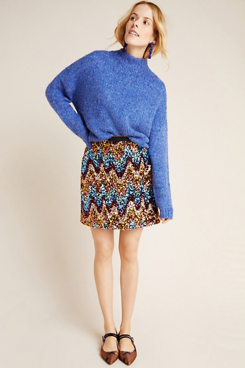 Maeve Zig-Zag Sequined Mini Skirt