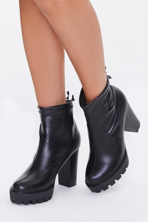 Forever21 Faux Leather Block Heel Booties At Forever 21 , Black Boot