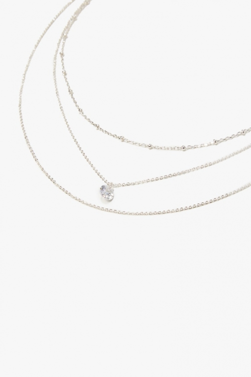 Forever21 Forever 21 Layered Charm , Silver/clear Necklace