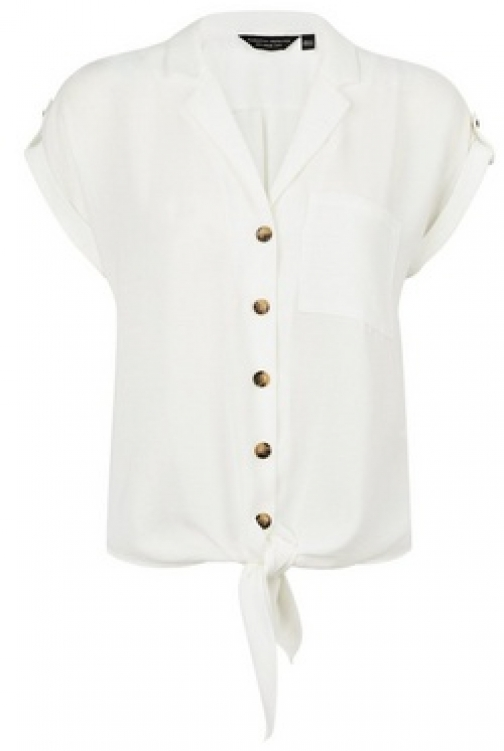 Dorothy Perkins Ivory Tie Front Shirt