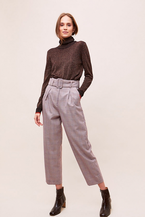 Paper London Belted-Checked Trousers Trouser