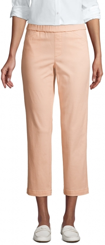 Lands' End Women's Mid Rise Pull On Crop Pants - Lands' End - Orange - 2 Chino