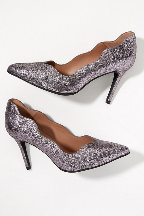 Anthropologie Scalloped-Edged Metallic-Leather Stilettos Shoes