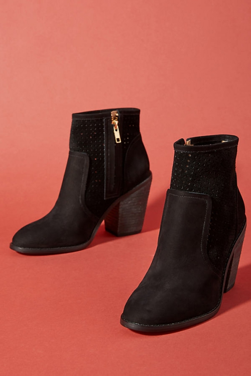 Anthropologie Perforated Heeled Booties Boot