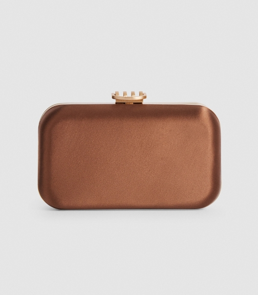 Reiss Nina - Satin Box Brown, Womens Clutch