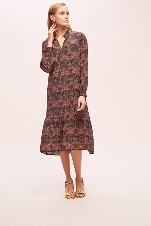 Anthropologie Hannah Printed-Silk - Assorted, Size Uk Dress