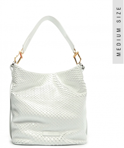 Schutz Shoes Mandy Snake-Embossed Leather Hobo - O/S White Snake Embossed Leather Bag