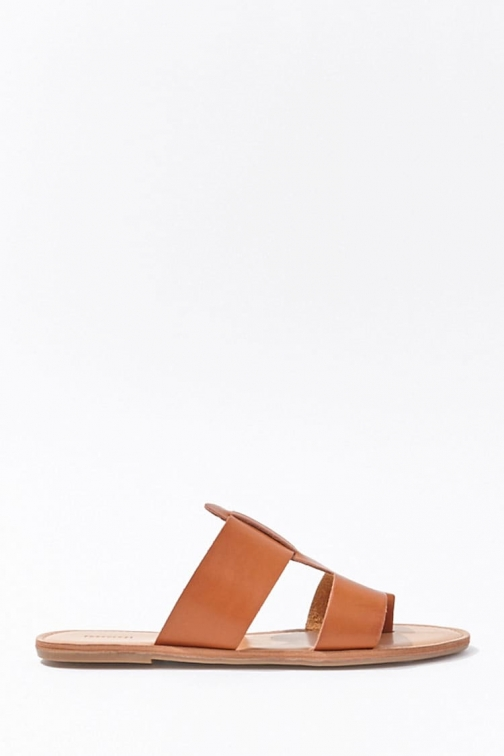 Forever21 Forever 21 Cutout-Vamp Faux Leather , Brown Sandals