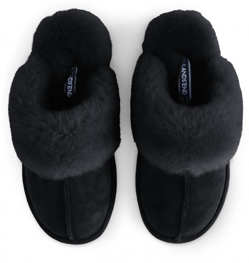 Lands' End Women's Suede Leather Shearling Fur Scuff - Lands' End - Black - 7 Slippers