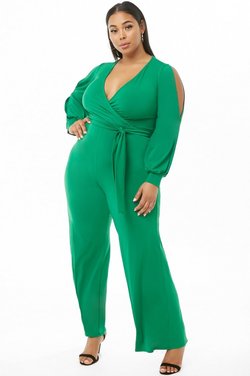 Forever21 Plus Forever 21 Plus Size Surplice Green Jumpsuit