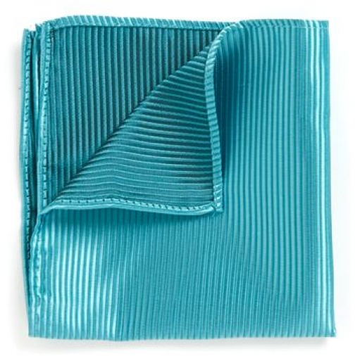 Topman Mens Blue Teal Textured , Blue Pocket Square