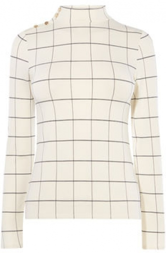 Karen Millen High Neck Check Top Shirt