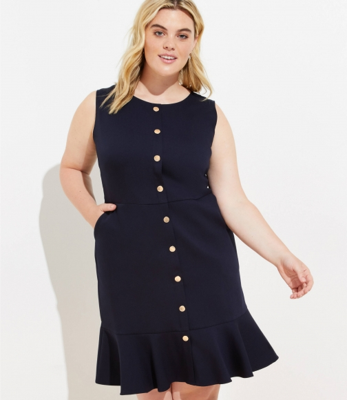 Loft Plus Gilded Button Flounce Pocket Dress