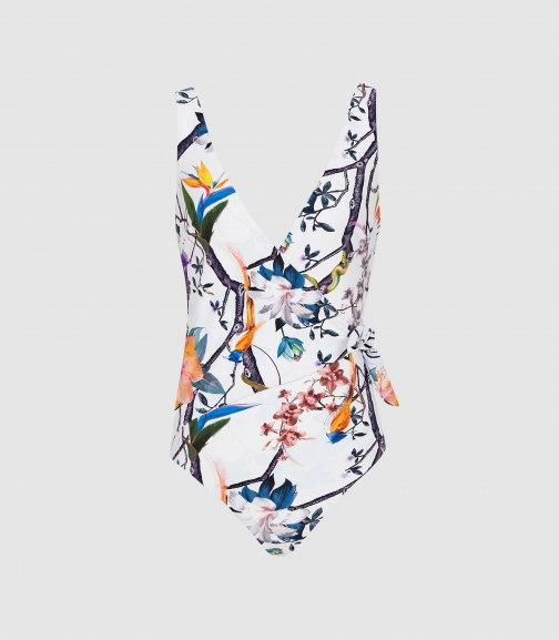 Reiss Gracen - Snake Printed Multi, Womens, Size XS Swimsuit