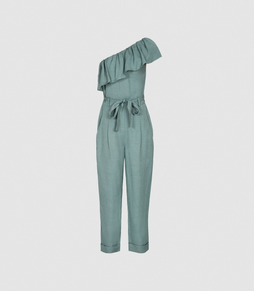 Reiss Madeline - One Shoulder Green, Womens, Size 8 Jumpsuit