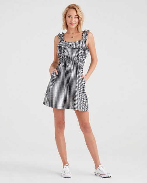 7 For All Mankind Women's Gingham Ruffle Black And White Dress