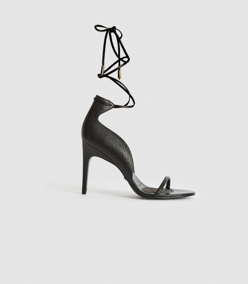 Reiss Coco - Leather Strappy Wrap Black, Womens, Size 4 Sandals