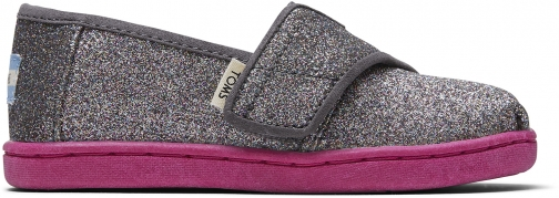 Toms Grey Iridescent Glitter Tiny TOMS Classics Slip-On Shoes