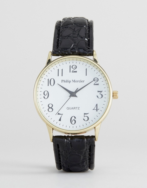 Asos Philip Mercier Black With White Dial Watch