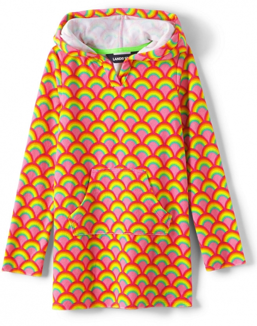 Lands' End Girls Long Sleeve Hooded Front Pocket Terry Cloth Cover-Up - Lands' End - Pink - XXS Swimsuit