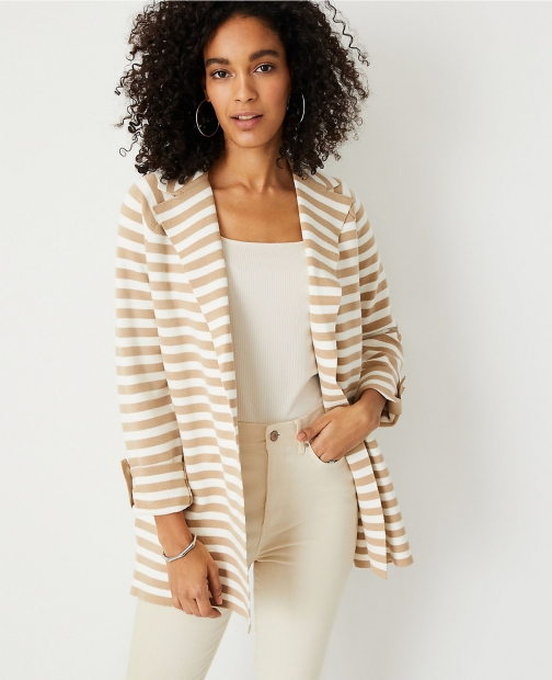 Ann Taylor Petite Striped Trench Boyfriend Cardigan