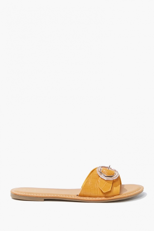Forever21 Forever 21 Buckled Faux Croc Leather , Yellow Sandals