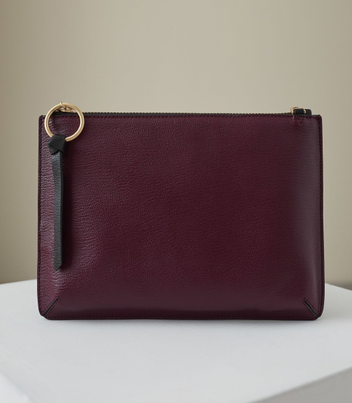 Reiss Paisley - Leather Zip Berry, Womens Pouch