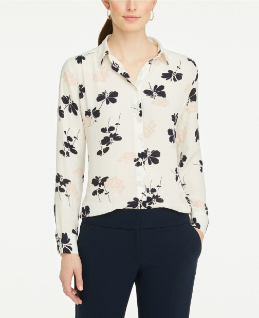 Ann Taylor Floral Soft Button Down Shirt
